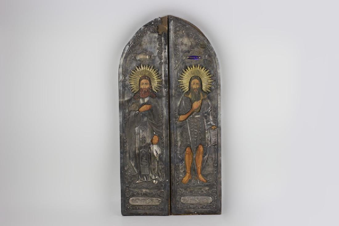 19thc Pair of Large Russian Silver & Wood Icons