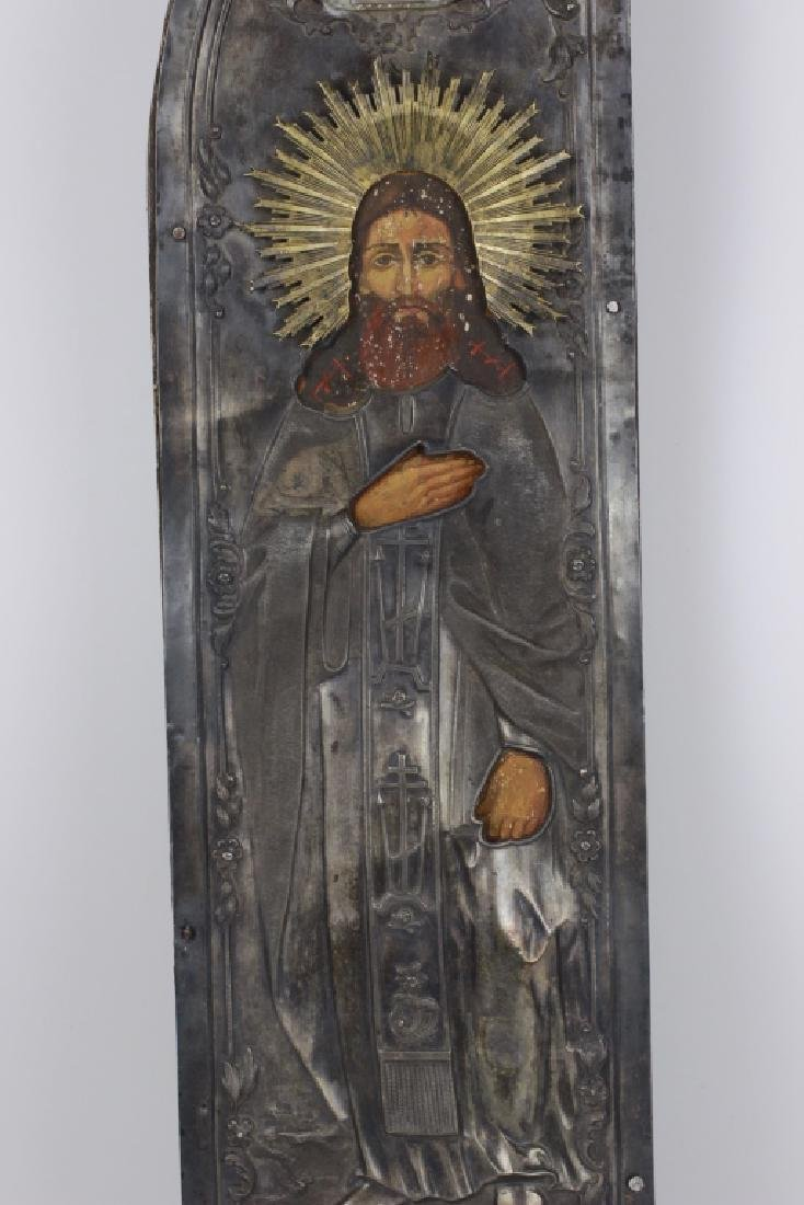 19thc Pair of Large Russian Silver & Wood Icons - 6