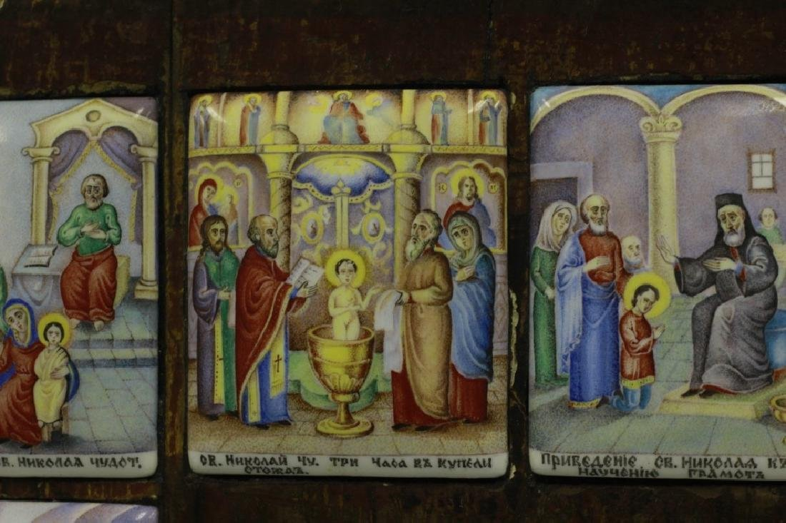 19thc Russian Icon of 13 Enameled Copper Plaques - 10