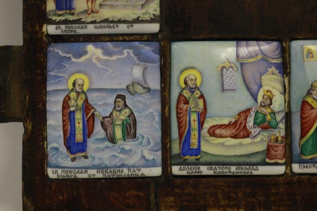 19thc Russian Icon of 13 Enameled Copper Plaques - 2
