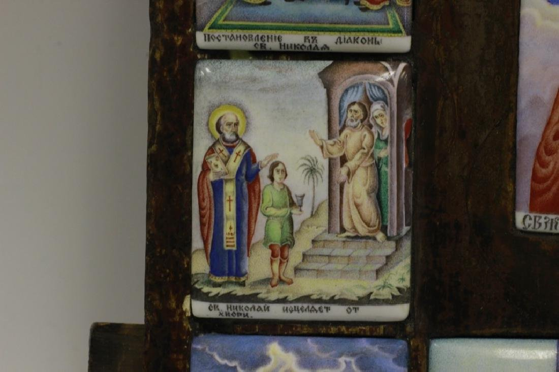 19thc Russian Icon of 13 Enameled Copper Plaques - 5
