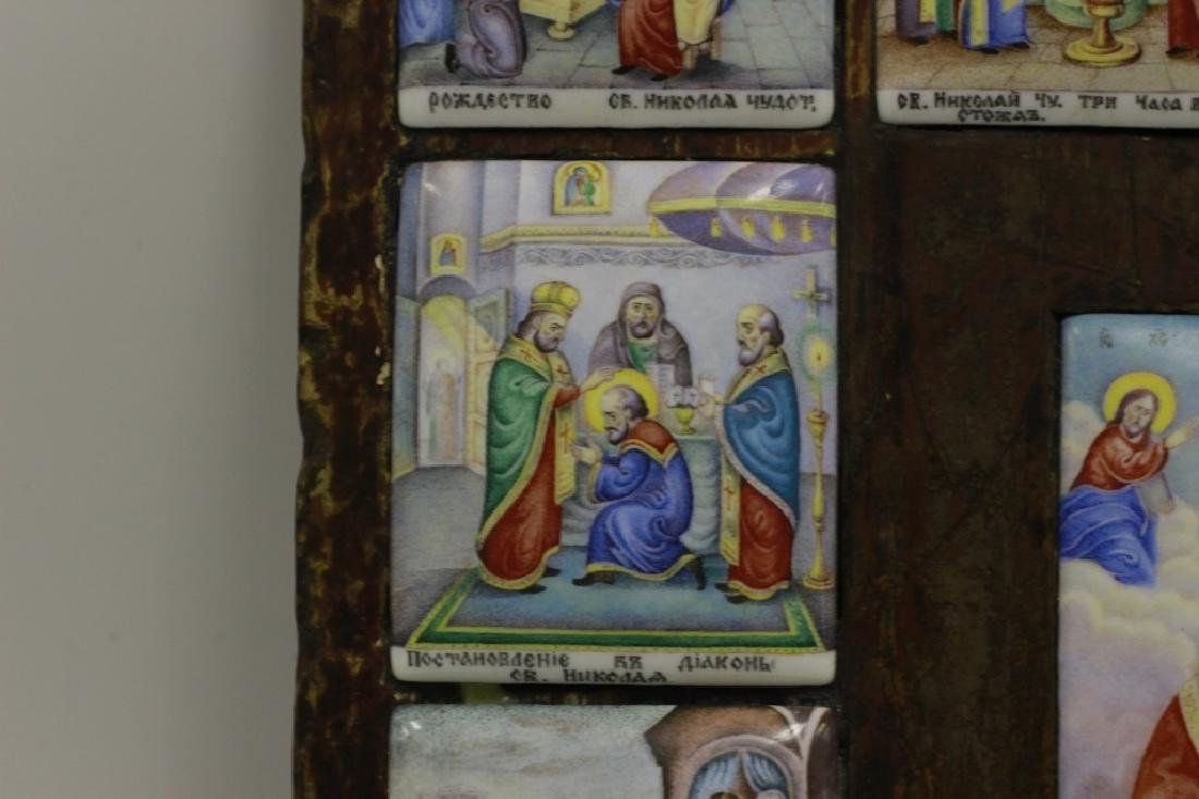19thc Russian Icon of 13 Enameled Copper Plaques - 6