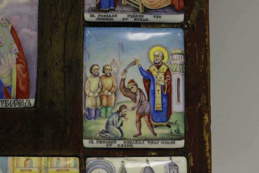 19thc Russian Icon of 13 Enameled Copper Plaques - 7
