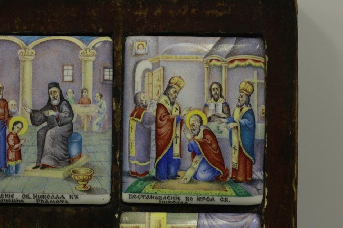19thc Russian Icon of 13 Enameled Copper Plaques - 9