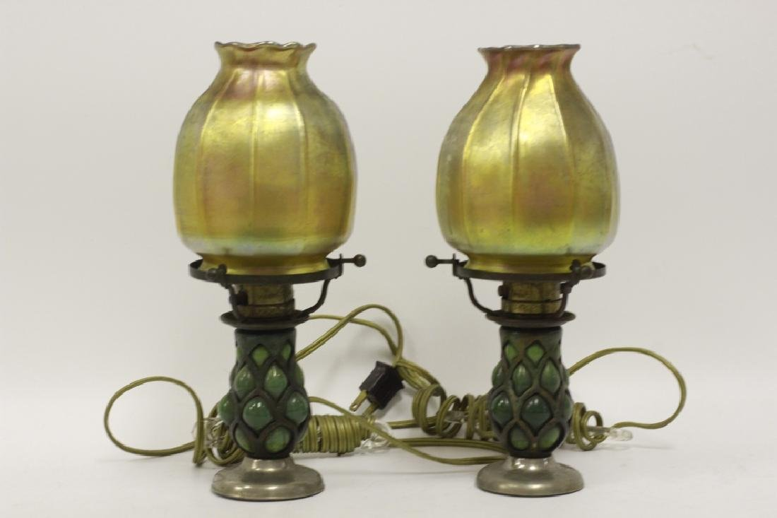 Pair of Small Tiffany Lamps w/ One Good Shade