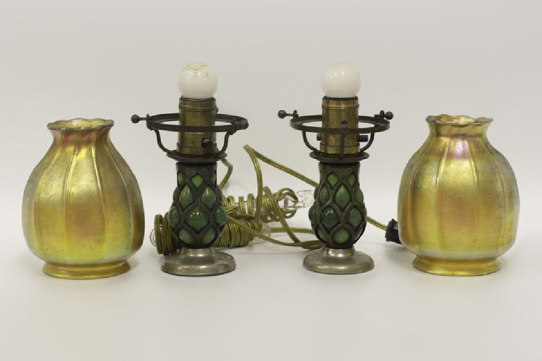 Pair of Small Tiffany Lamps w/ One Good Shade - 2