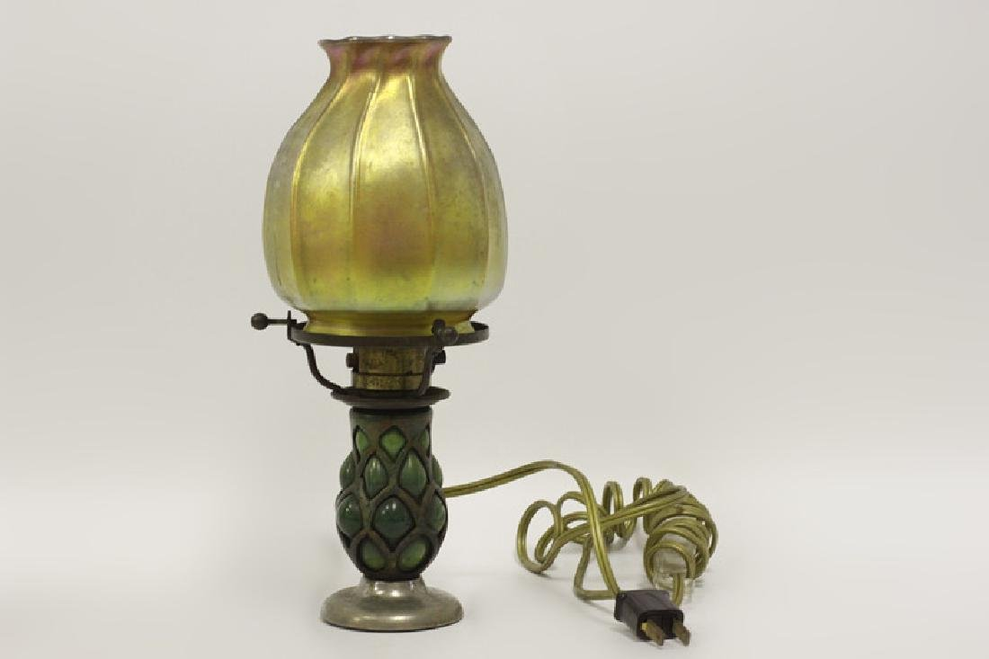 Pair of Small Tiffany Lamps w/ One Good Shade - 3