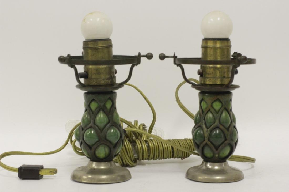 Pair of Small Tiffany Lamps w/ One Good Shade - 5
