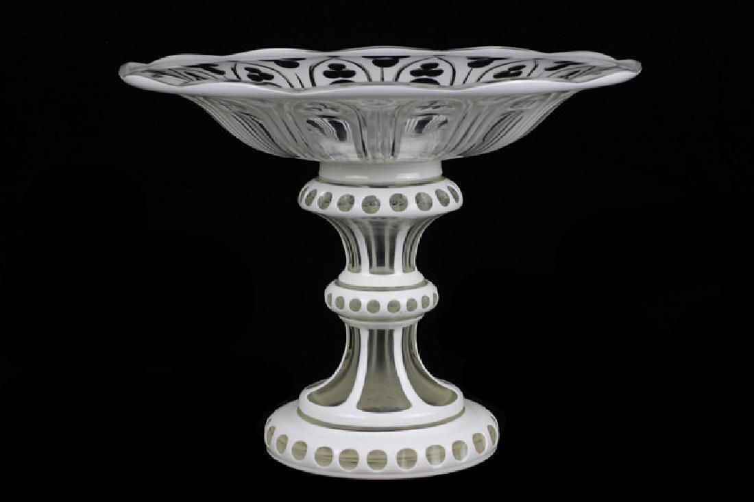 Bohemian Glass White Overlay Centerpiece