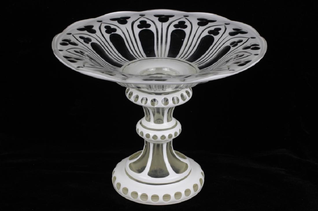 Bohemian Glass White Overlay Centerpiece - 3