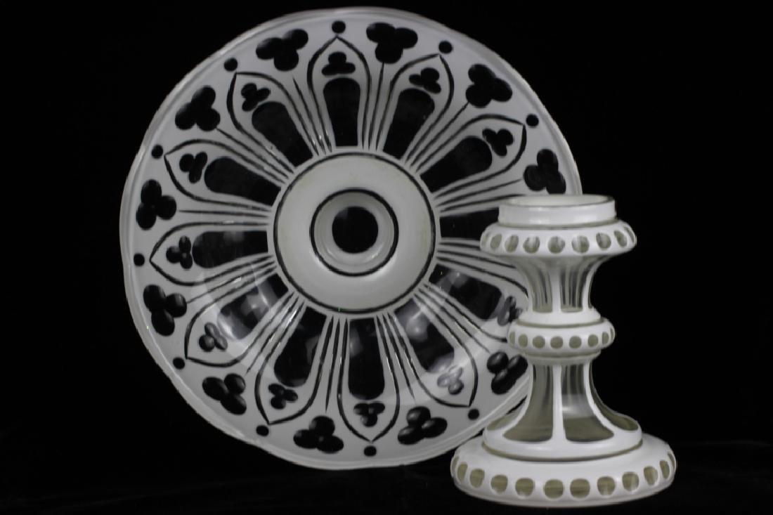 Bohemian Glass White Overlay Centerpiece - 4
