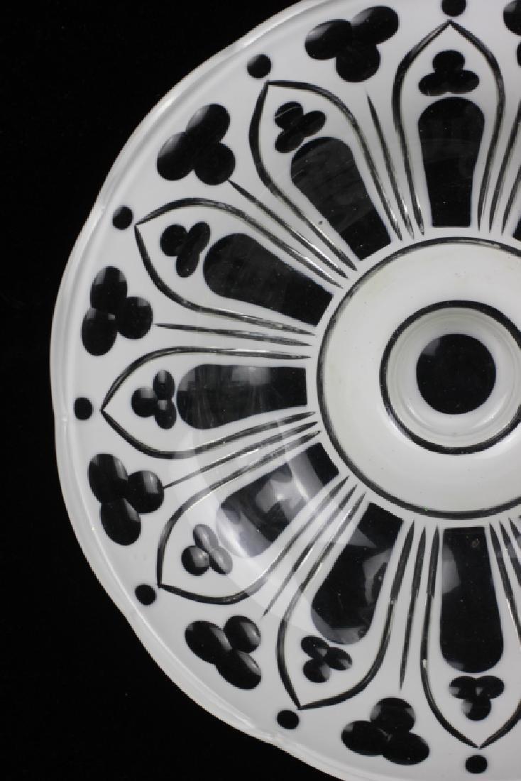 Bohemian Glass White Overlay Centerpiece - 5