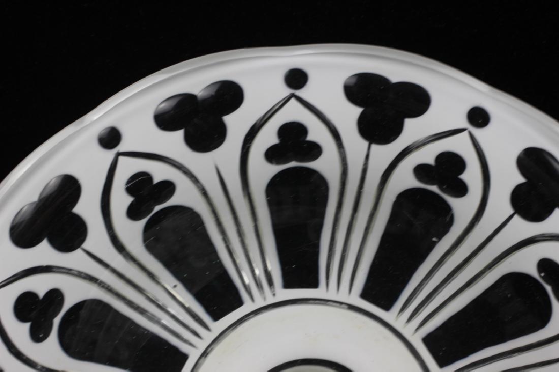 Bohemian Glass White Overlay Centerpiece - 6