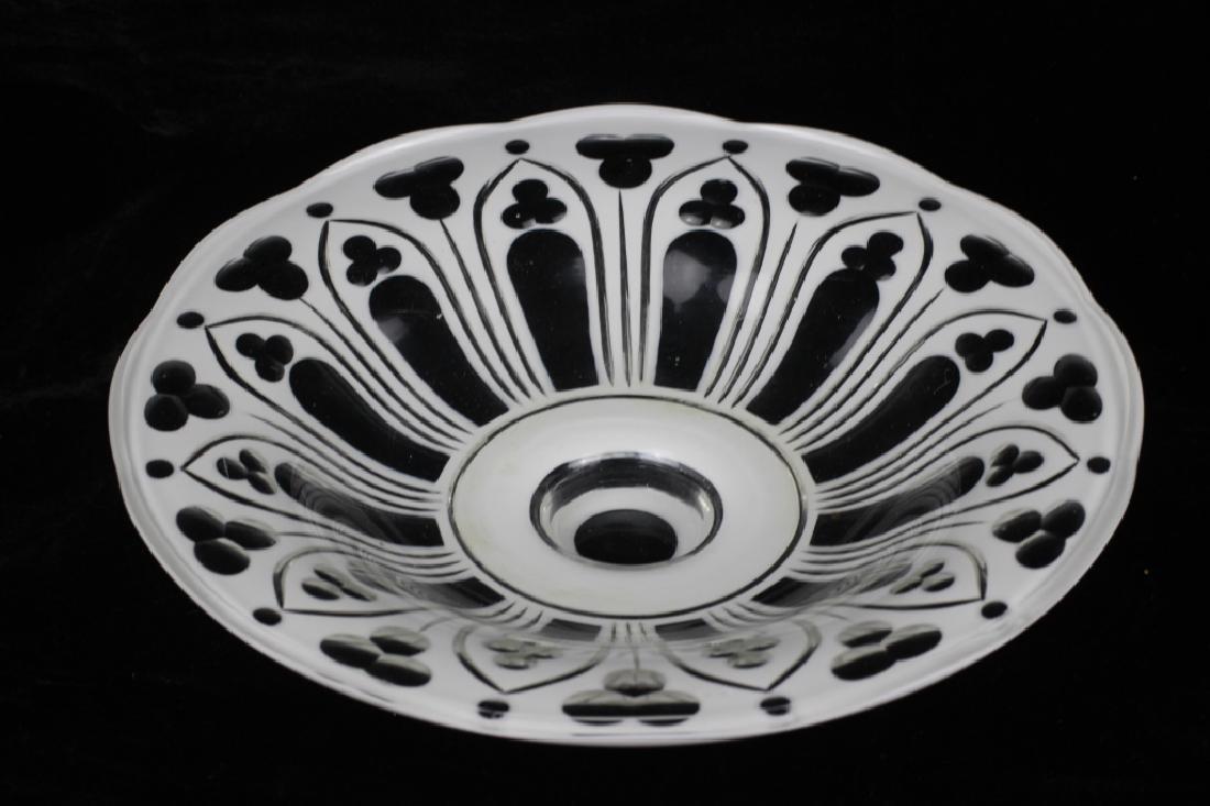 Bohemian Glass White Overlay Centerpiece - 8