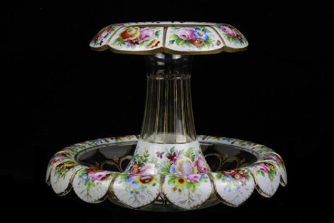 Bohemian Glass Overlay & Enamel Centerpiece