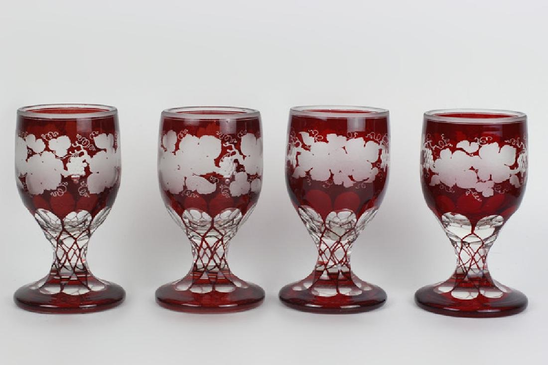 4 Red Overlay & Carved Bohemian Wine Glasses