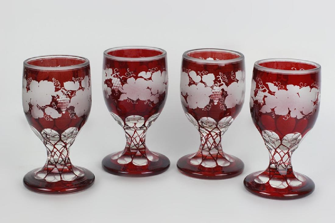 4 Red Overlay & Carved Bohemian Wine Glasses - 2