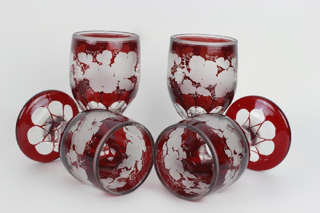 4 Red Overlay & Carved Bohemian Wine Glasses - 3