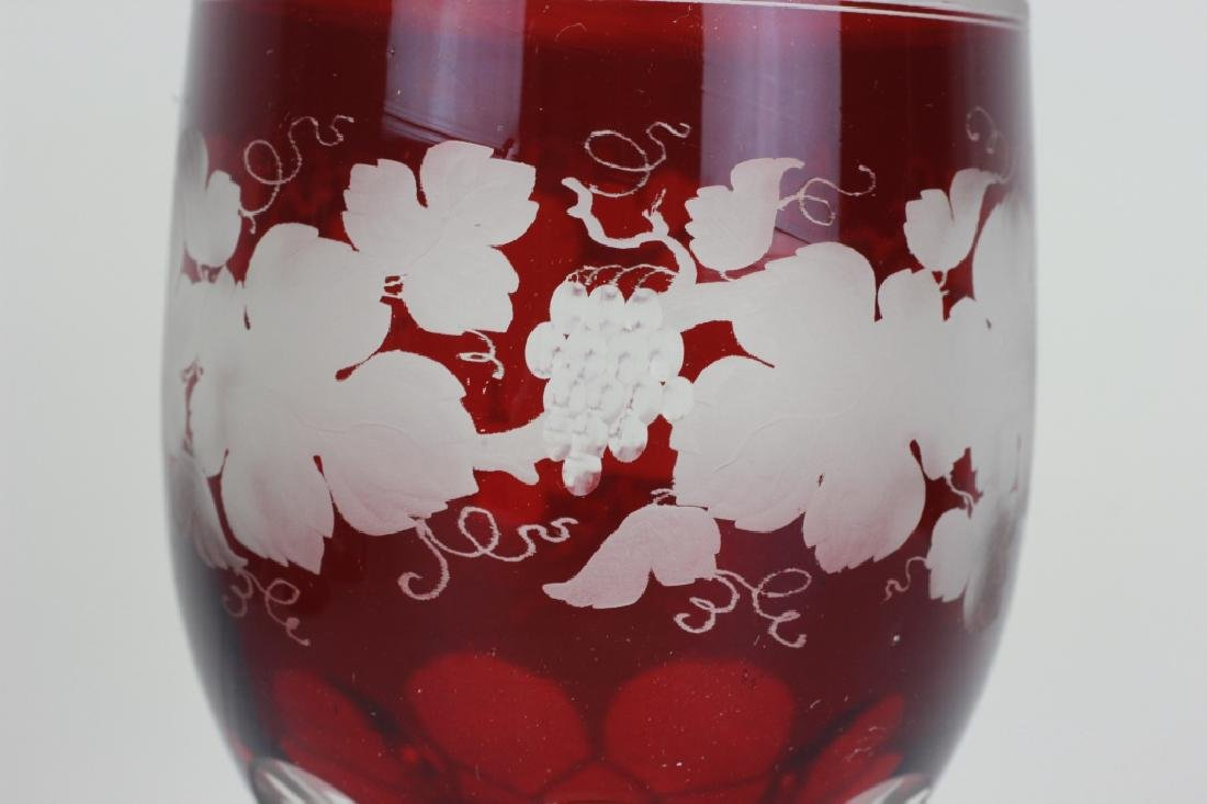 4 Red Overlay & Carved Bohemian Wine Glasses - 5