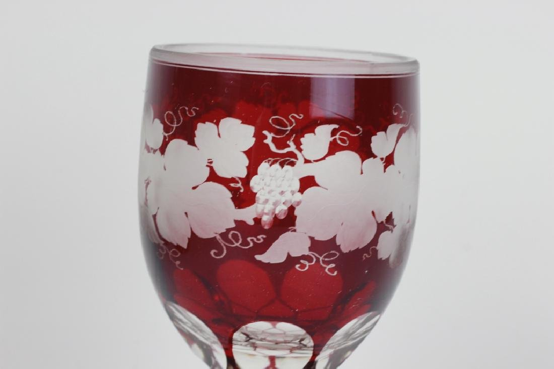 4 Red Overlay & Carved Bohemian Wine Glasses - 6