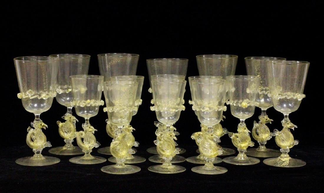 15 Piece Murano Glasses, 8 Shots & 7 Wine Glasses