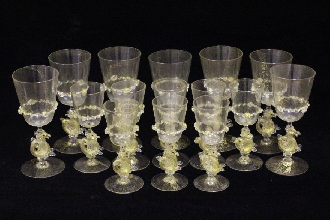 15 Piece Murano Glasses, 8 Shots & 7 Wine Glasses - 3