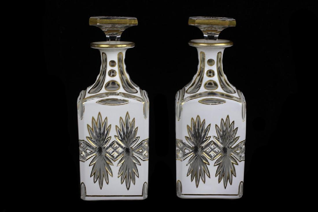 Pair of 19thc Bohemian White Overlay Cut Decanters