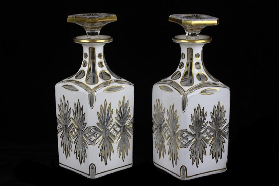 Pair of 19thc Bohemian White Overlay Cut Decanters - 2