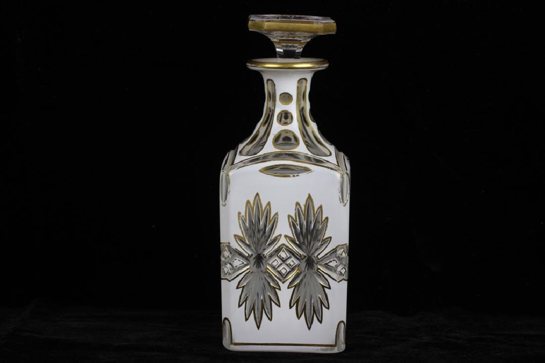 Pair of 19thc Bohemian White Overlay Cut Decanters - 3