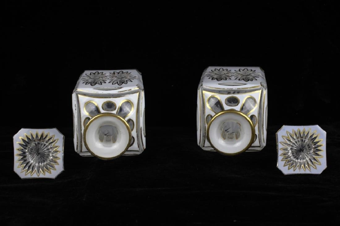 Pair of 19thc Bohemian White Overlay Cut Decanters - 4