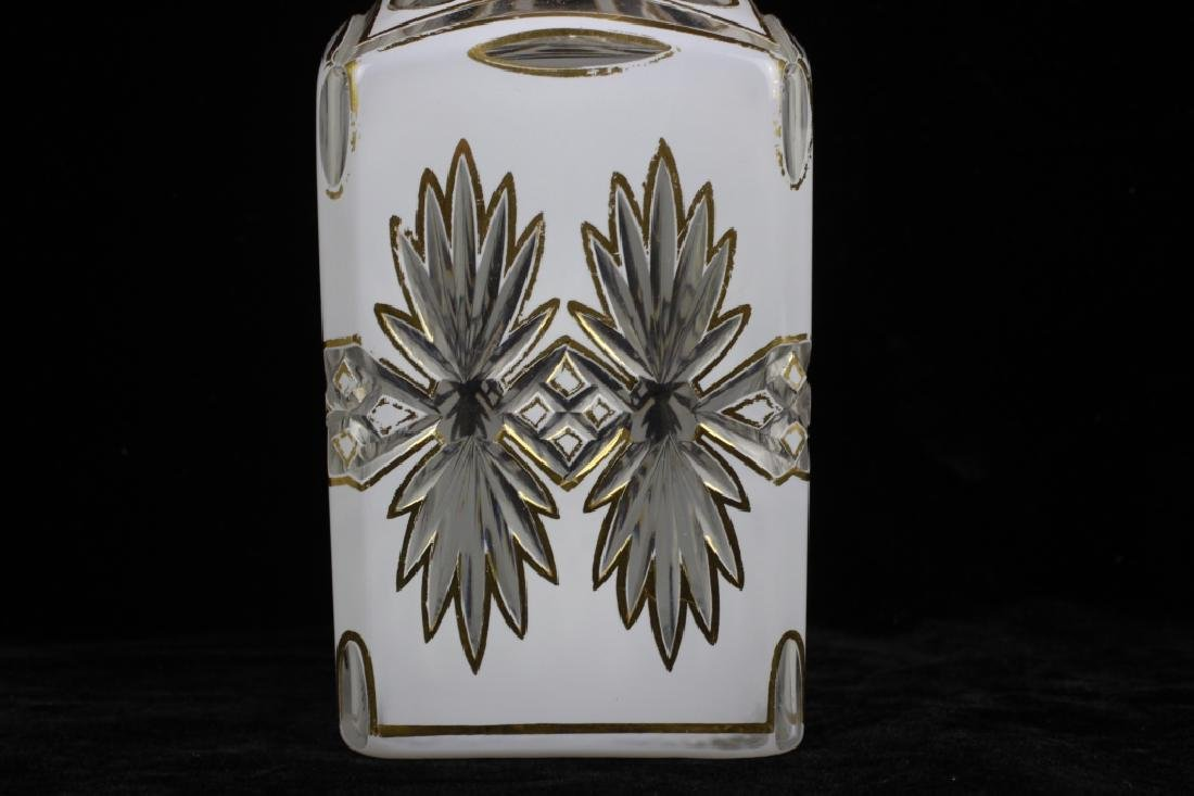 Pair of 19thc Bohemian White Overlay Cut Decanters - 6