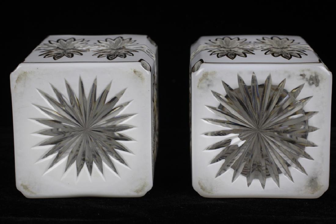 Pair of 19thc Bohemian White Overlay Cut Decanters - 7