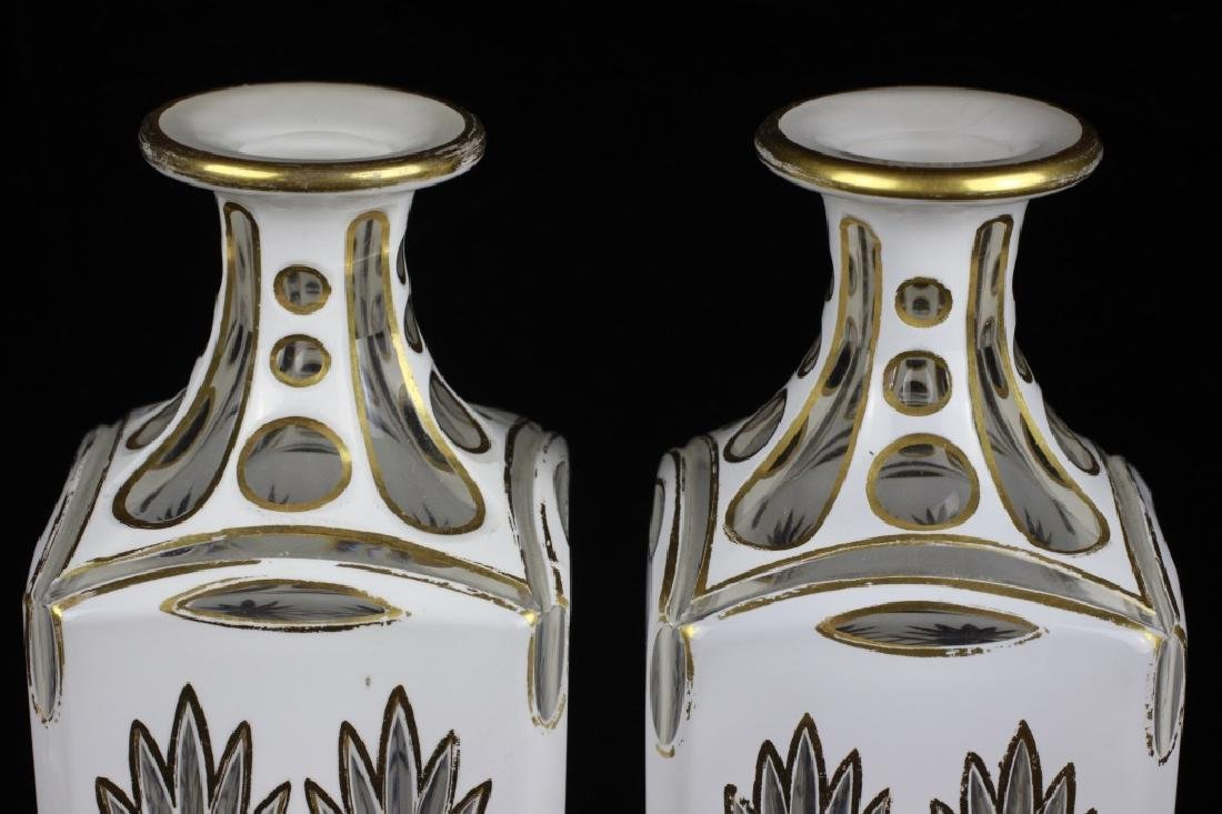 Pair of 19thc Bohemian White Overlay Cut Decanters - 8