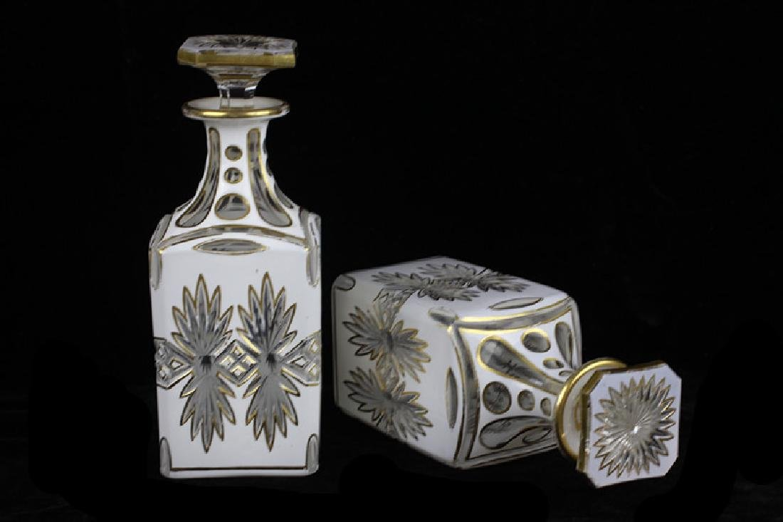 Pair of 19thc Bohemian White Overlay Cut Decanters - 9