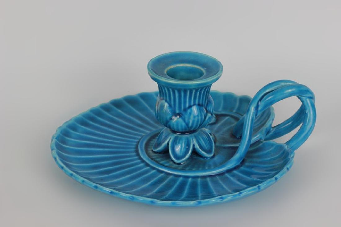 Mintons Blue Majolica Art Nouveau Chamber Stick