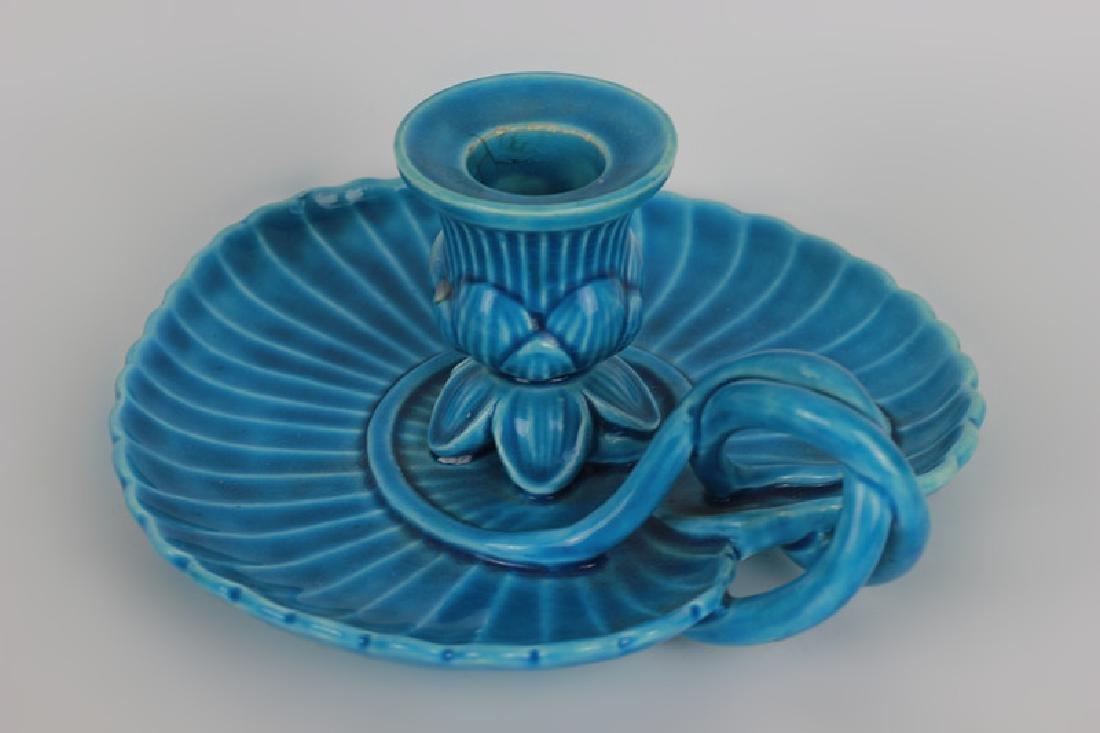 Mintons Blue Majolica Art Nouveau Chamber Stick - 2