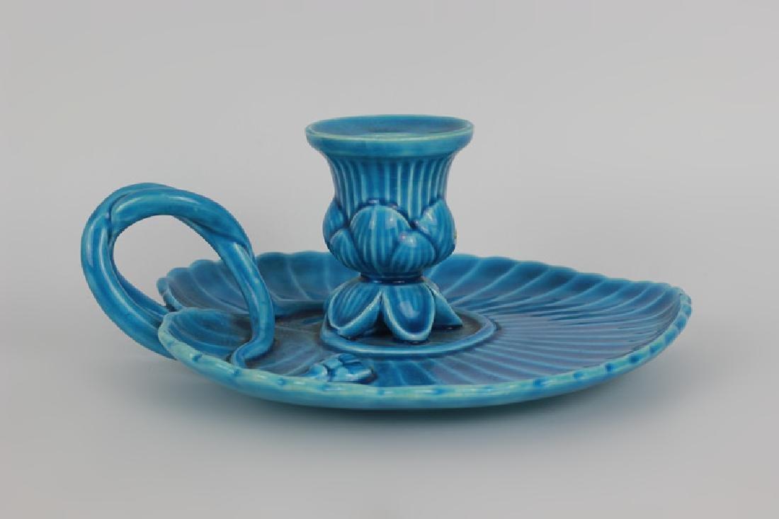 Mintons Blue Majolica Art Nouveau Chamber Stick - 3