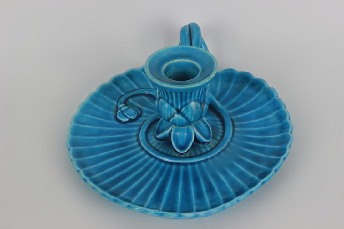 Mintons Blue Majolica Art Nouveau Chamber Stick - 4