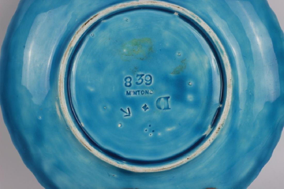 Mintons Blue Majolica Art Nouveau Chamber Stick - 5