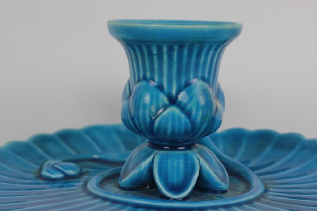 Mintons Blue Majolica Art Nouveau Chamber Stick - 9