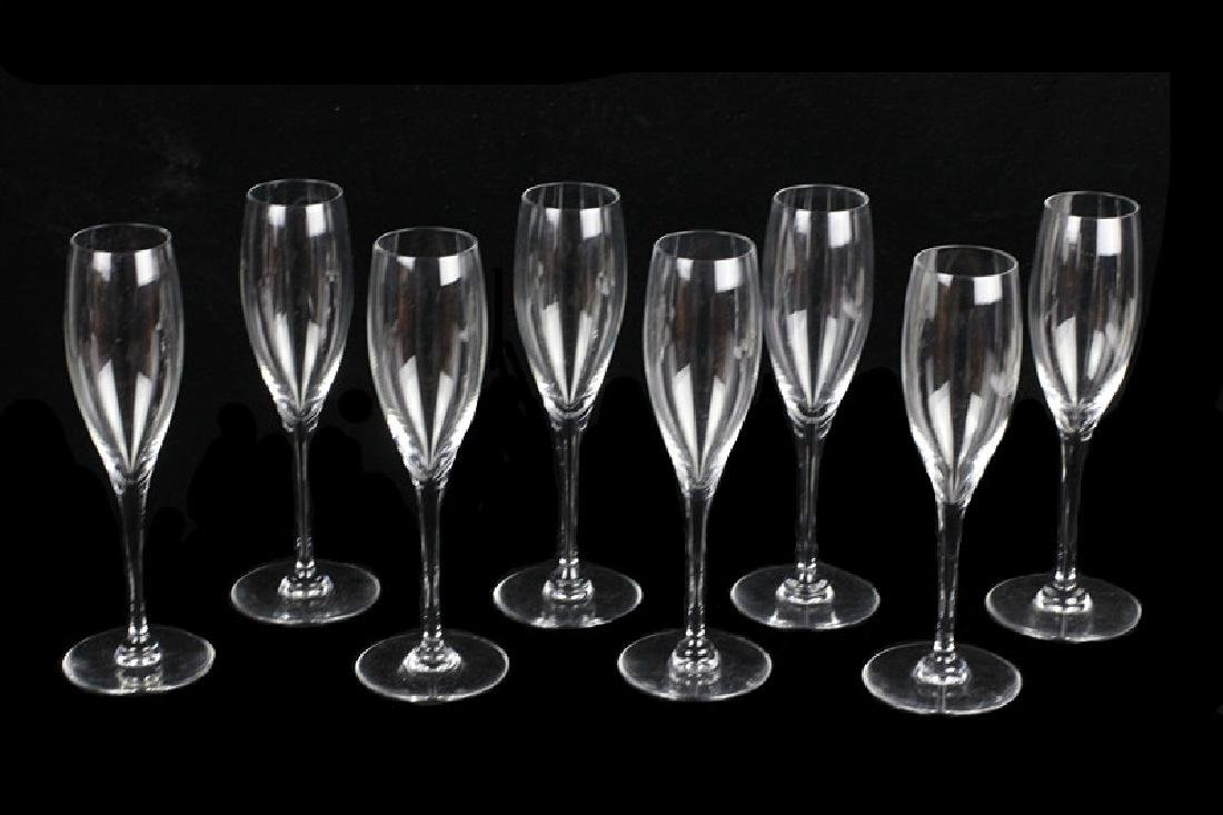 8 Baccarat Champagne Glasses, All Signed