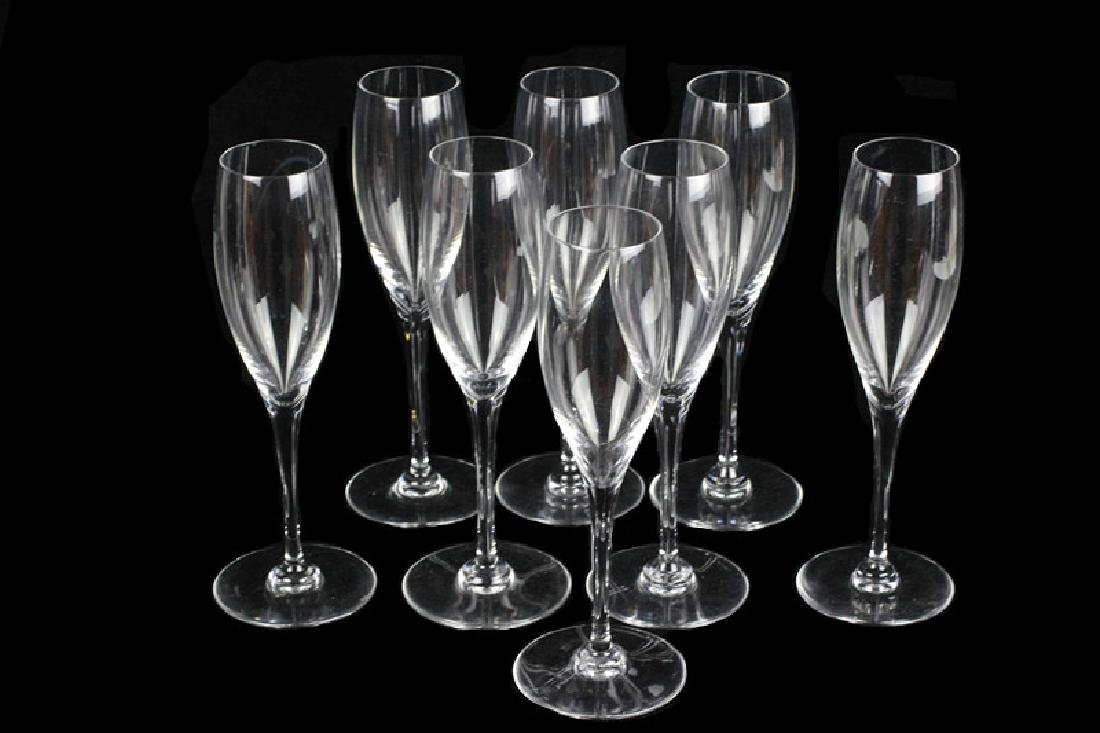 8 Baccarat Champagne Glasses, All Signed - 3