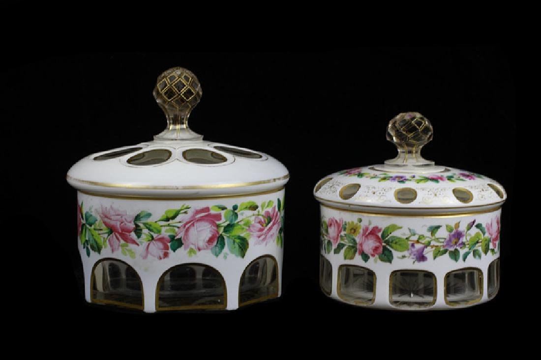 2 Old Bohemian White Overlay Boxes