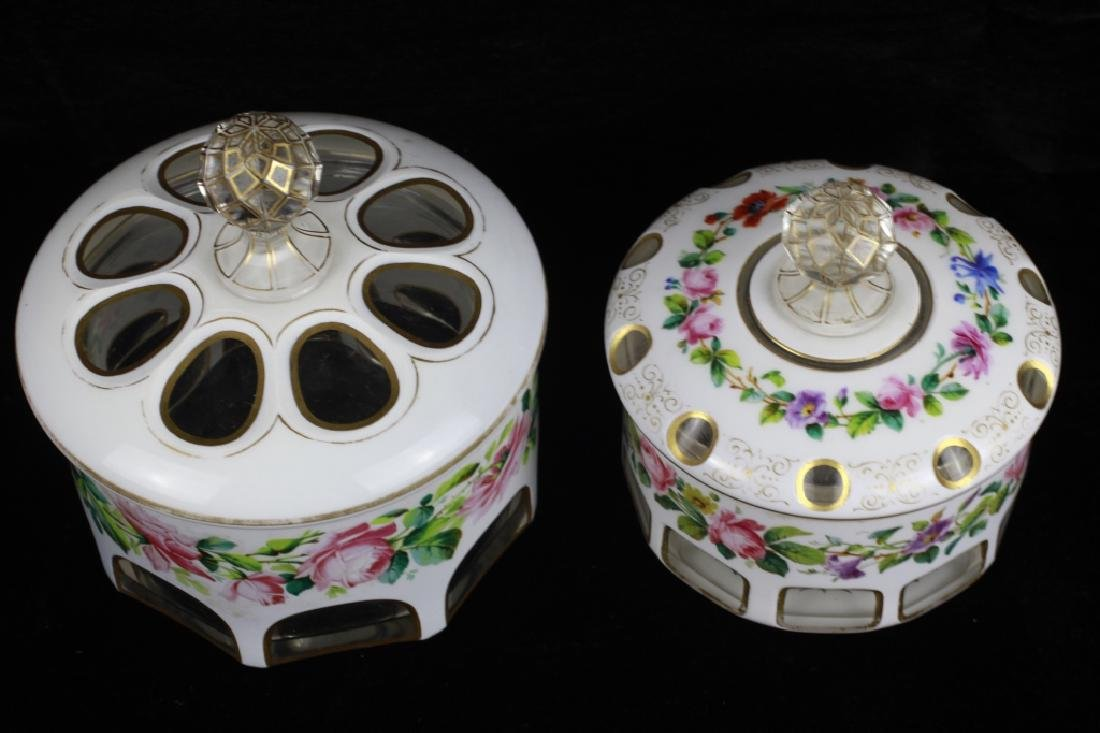 2 Old Bohemian White Overlay Boxes - 2