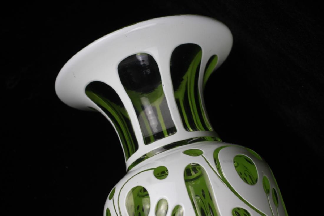 Pair of 19thc Bohemian Green Glass Vases - 10