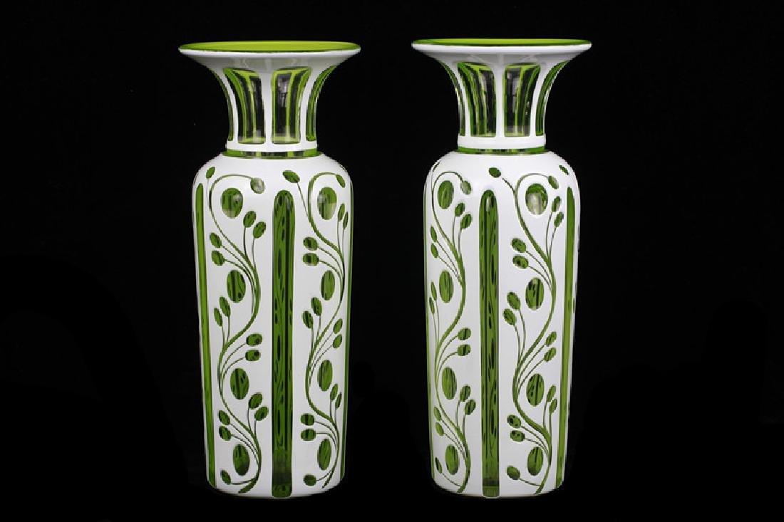 Pair of 19thc Bohemian Green Glass Vases