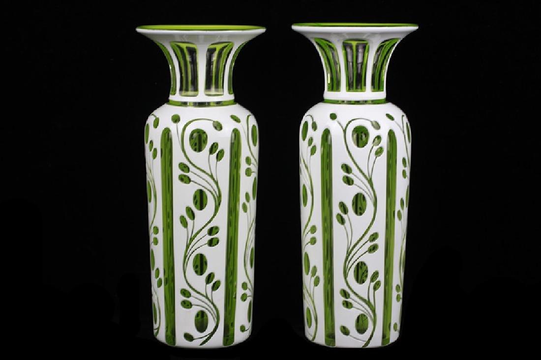 Pair of 19thc Bohemian Green Glass Vases - 2