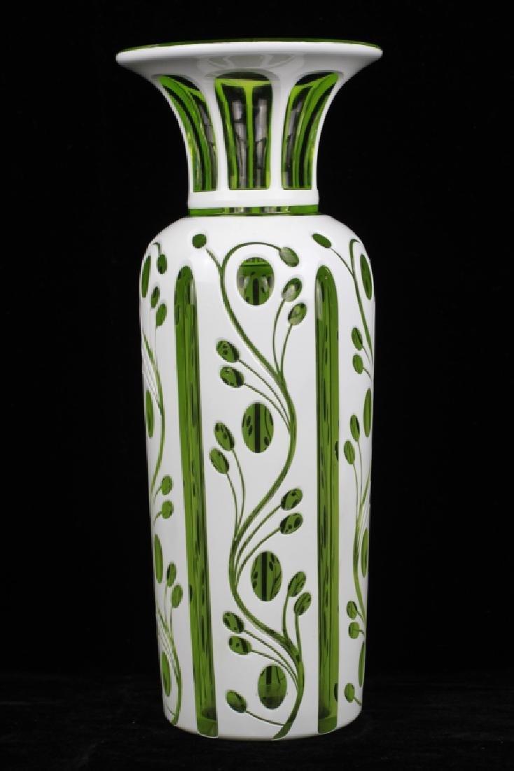 Pair of 19thc Bohemian Green Glass Vases - 3