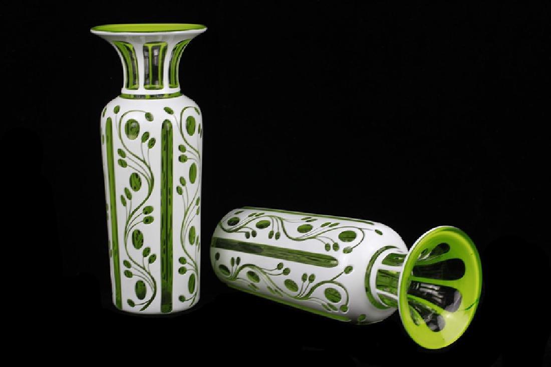 Pair of 19thc Bohemian Green Glass Vases - 4