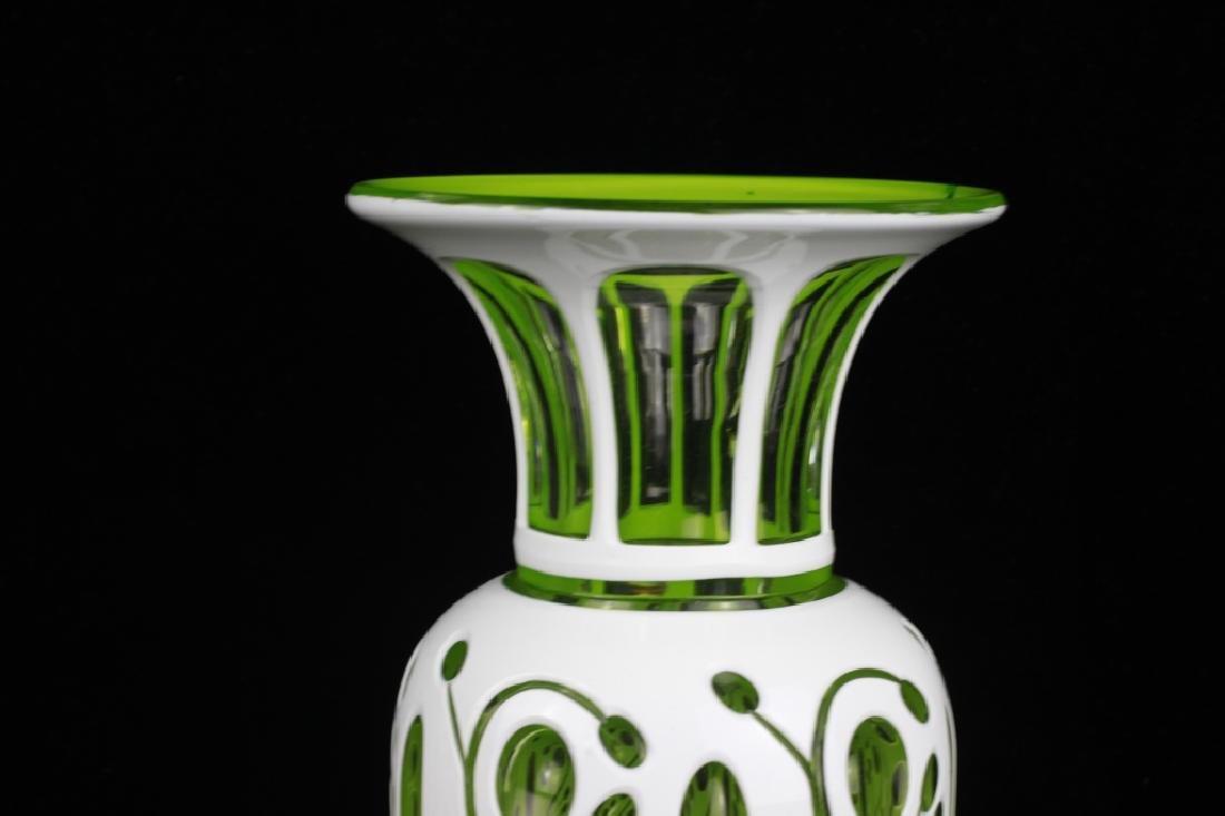 Pair of 19thc Bohemian Green Glass Vases - 5